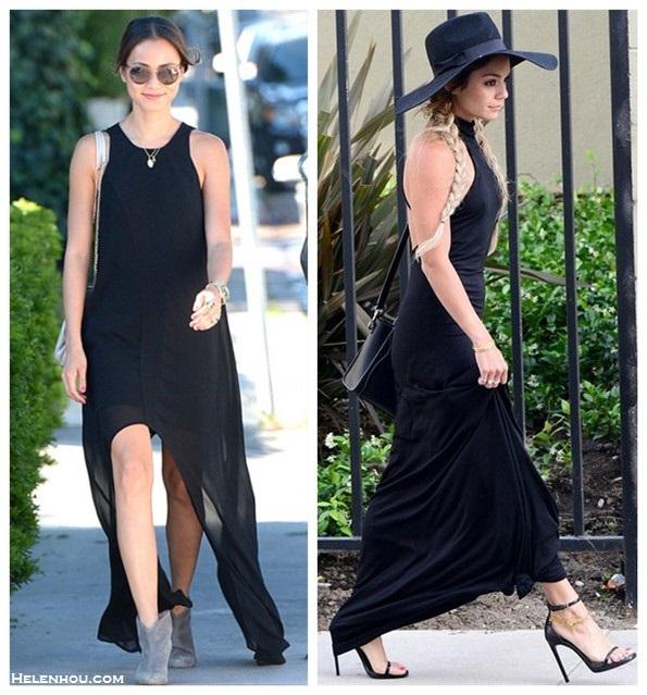 Street style black maxi dress